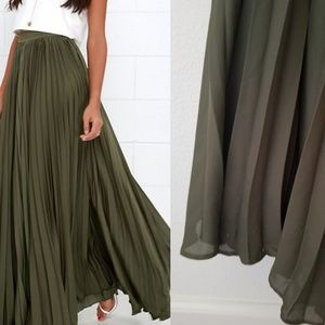 Olive Green Pleated Maxi Skirt